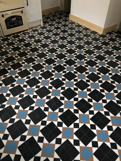 Mosaic Vinyl Hallway Blue - Dan Sheehan Floor Coverings